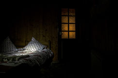 Free Dark Bedroom With Bed And Pillows Surreal Lights And Wooden Door With Window. Stock Photos - 87821723