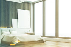 Dark bedroom, wood, side, toned Stock Image