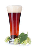 Dark beer cup and hop branch Royalty Free Stock Photography