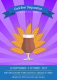 Dark Beer Degustation on Vector Illustration. Dark beer degustation, come with your friends, 16 september till 4 october, poster advertising funny concerts Stock Illustration