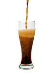 Dark beer in a glass. On a white background Stock Image