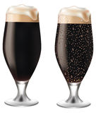 Dark beer in glass with drops Royalty Free Stock Photo