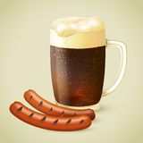 Dark beer and grilled sausage Royalty Free Stock Photos