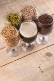 Dark beer and ingredients Royalty Free Stock Photography