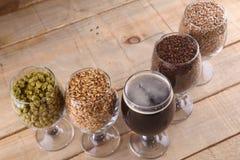 Dark beer and ingredients Stock Images