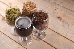 Dark beer and ingredients Royalty Free Stock Photo