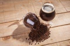 Dark beer and malt Stock Image