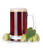 Dark beer mug and hop branch Stock Photo
