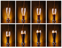 Dark beer pouring Royalty Free Stock Images