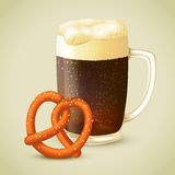 Dark beer and pretzel Stock Images