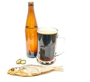 Dark beer and salty stockfish Royalty Free Stock Images