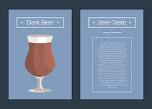 Dark Beer Set of Posters with Blue Background. Dark beer collection of posters with text. Isolated vector illustration of full glass of tasty freshly brewed Stock Illustration