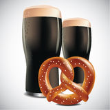 Dark beer with Soft pretzel on a white background Stock Photos