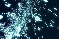 Dark binary code wallpaper. Abstract dark binary code stream wallpaper. Computing, hacker concept. 3D Rendering Stock Photos