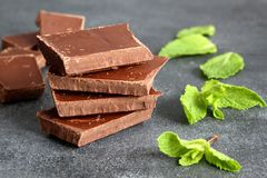 Dark bitter chocolate with few mint leaves on grey board, close-up. Selective focus, copy space royalty free stock image