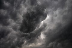 Dark or black clouds on the sky before storm raining. Clouds background stock photos