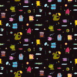 Dark black colorful monsters seamless background for children Stock Images