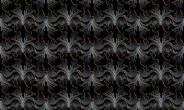 Dark black 3d Baroque seamless pattern. Vector background wallpa. Per with vintage surface damask flowers, scroll leaves, antique ornaments in baroque style royalty free illustration