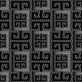 Dark black 3d geometric seamless pattern. Vector modern abstract. Check background wallpaper. Ornamental patterned frames, meander, greek key, geometric shapes Stock Illustration