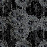 Black 3d flowers seamless pattern. Dark black floral seamless pattern. Striped background wallpaper illustration with 3d black flowers, vertical white stripes stock illustration