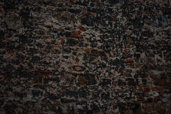Dark,black,  old brick wall. Outdoors dark,black,  old brick wall.Grunge stone texture, cement Royalty Free Stock Photo