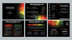 Dark black rainbow polygonal powerpoint presentation template. Modern low poly geometric modern dark background rainbow color business presentation power point Vector Illustration