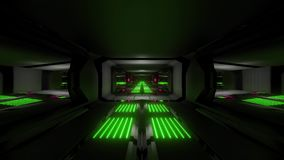 Dark black space scifi tunnel with green pink glowing lights 3d illustration wallpaper background vj loop endless
