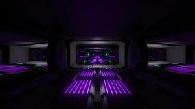 Dark black space scifi tunnel with green purple glowing lights 3d illustration wallpaper background vj loop endless
