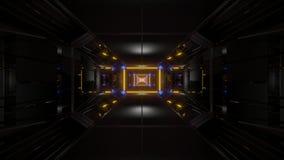 Dark black space tunnel with glowing lights 3d rendering background vjloop