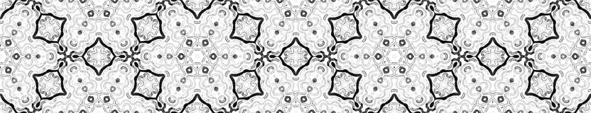 Dark black and white Seamless Border Scroll. Geome vector illustration