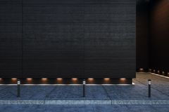 Dark blank concrete wall outdoors stock photo