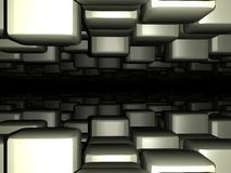 Dark blocks perspective fade background. An illustration of dark blocks in dark space showing perspective and fading Royalty Free Stock Photography