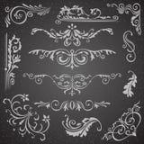 Dark bloeit van het Grenshoek en Kader Elementeninzameling Vectorkaartuitnodiging Victoriaanse Kalligrafische Grunge Stock Afbeelding