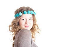 Dark blond curly-headed girl. On white bakcground, isolated stock photo