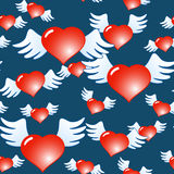 Dark blue abstract background of red hearts. Valentine's day dark blue abstract background of red hearts with wings. Seamless pattern. Vector illustration Stock Illustration