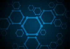 Dark blue abstract hexagon molecules tech background Royalty Free Stock Image