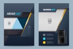 Dark Blue annual report brochure flyer design template vector royalty free illustration