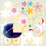 Dark blue baby carriage on a flower background Stock Photo