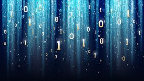Dark blue background with binary code, sequins, light, digits in space. Dark blue background with binary code, sequins, light rays, digits in space Stock Image