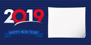 2019 A Happy New Year xmas greetings. Dark blue background, classic isolated colored numbers. Seasonal ad with digits, % percent off discount with white piece Royalty Free Stock Photography