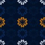 Folk blossoms pattern. Dark blue background with folk blossoms pattern - vector background royalty free illustration