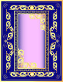 A dark blue background a frame with a gold pattern Stock Photos