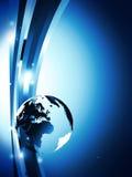 Dark blue background with glass globe Royalty Free Stock Photos