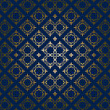 Dark blue vector background with golden ornament Stock Photos