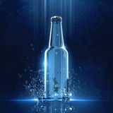 Dark blue background with gowing beer bottle and crystal clear water splash. Night club party concept render. Stock Images