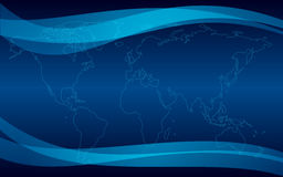 Dark blue background with map - vector Stock Image