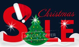 Dark blue background red Christmas sale banner with Christmas Tree in the snow and Santa hat on the letter. Vector Royalty Free Stock Photo