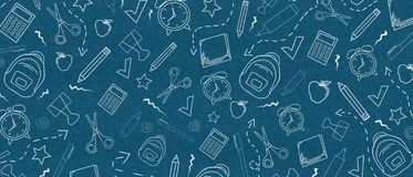 Dark Blue Background with school elements. Back to school concept royalty free illustration