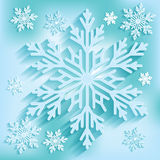 Dark blue background with snowflakes.  Vector Illustration