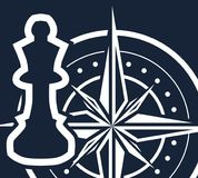 On a dark blue background a white chess piece and a compass. Simple pure vector illustration - concept of strategy, planning, making smart strategic decisions Stock Photos